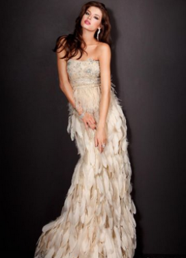 White Feathered Jovani Prom Gown