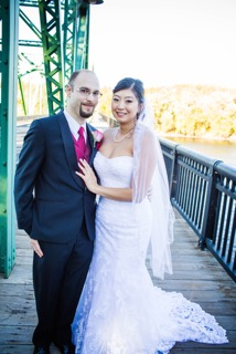 Real Bride: Christine Mulhern - Casablanca wedding dress in Bucks County