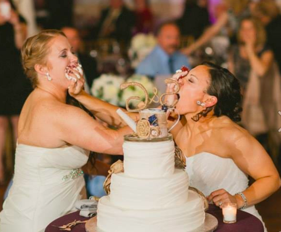Real Brides: Gabrielle Carrullo & Stephanie Ulrich wedding dresses in Philadelphia