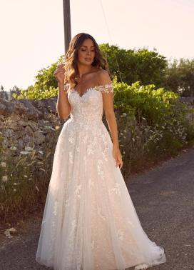 MARCHELLE ML10609 SWEET HEART NECK FULL LENGTH FLORAL LACE WITH OFF THE SHOULDER STRAPS WEDDING DRESS MADI LANE BRIDAL1