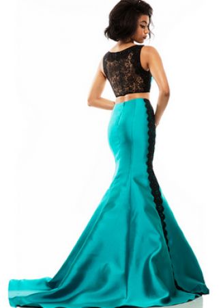 Teal & Black Jonathan Kayne Prom Dress