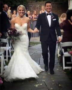 "Heather in Enzoani's ""Jenny"" and Mark wearing Ike Behar"
