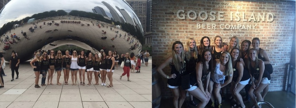Heather and her girls at her bachelorette weekend in Chicago