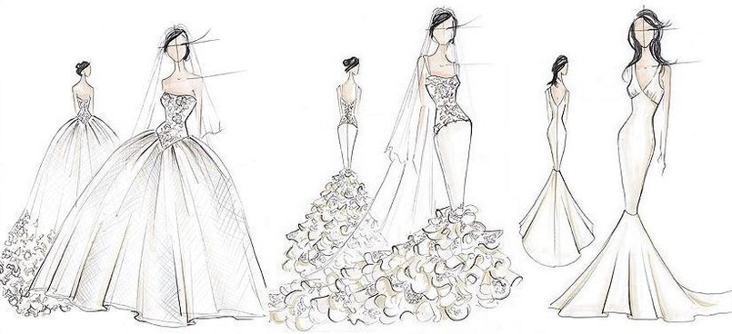 Philadelphia wedding dress sketches