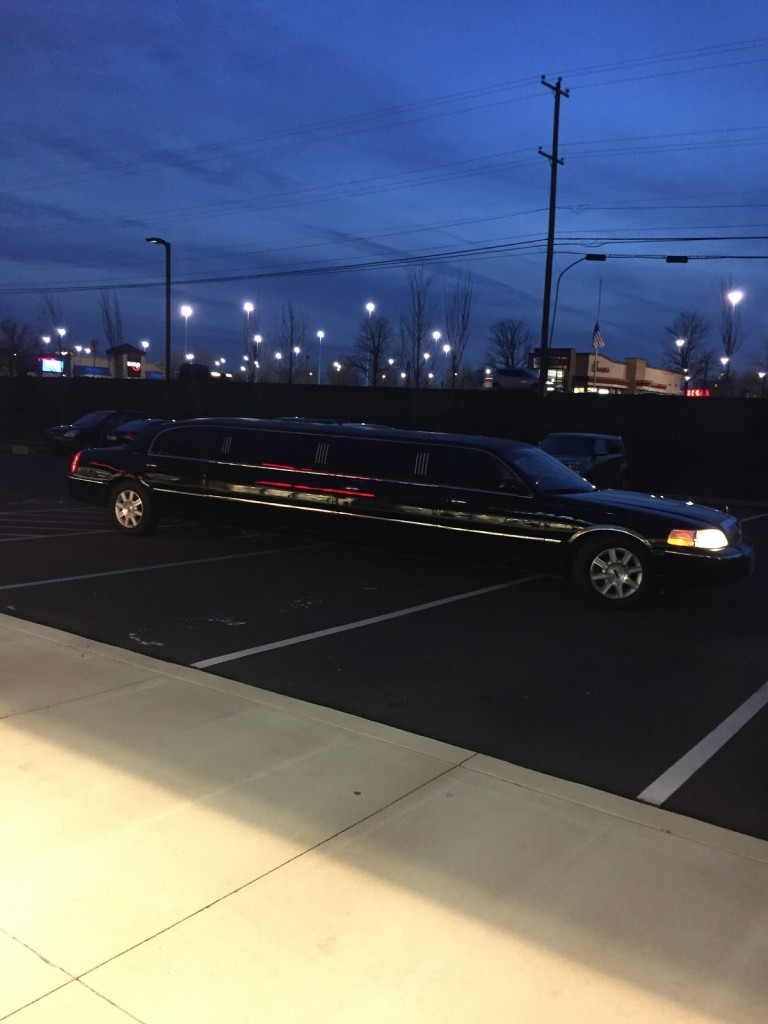 Limo picking up the Darianna bridal shop team