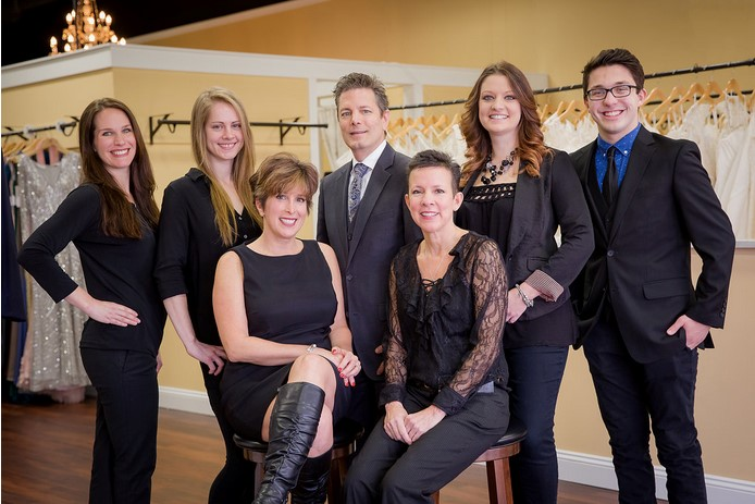 Group shot of our PA bridal shop staff