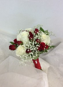 white and red rose prom bouquet
