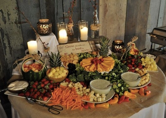 a delicious spread at a fall wedding