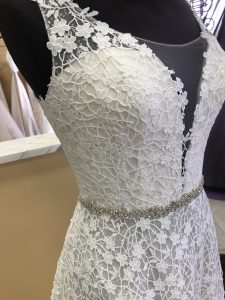 8e78c215a98 Floral lace pattern on a new Spring 2019 Casablanca Bridal dress