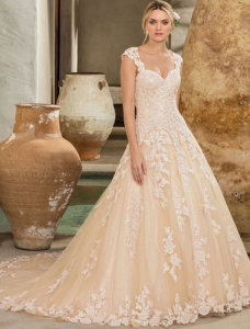 "1c7337a56c ""I love the traditional elements of the lace over chiffon, the timeless  elegance of the dress along with the illusion cap sleeve and back."