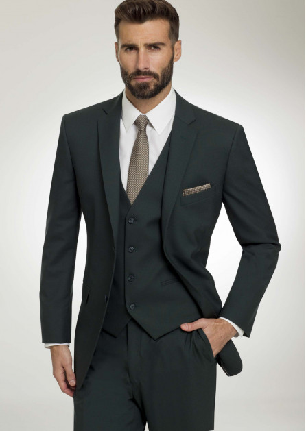 This picture shows a groom wearing a three-piece hunter green colored suit. Suits do not have satin, and they usually have a plastic button. This, and all suits, will have a notch lapel jacket
