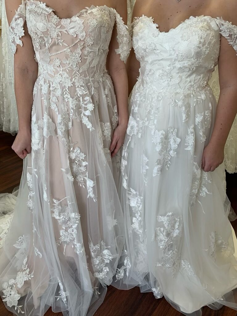 Photo shows the same dress in two different colors. One color is Ivory with mocha underneath, the other is ivory with ivory underneath. You can really see a difference in the lace pattern when the mocha is beneath it.