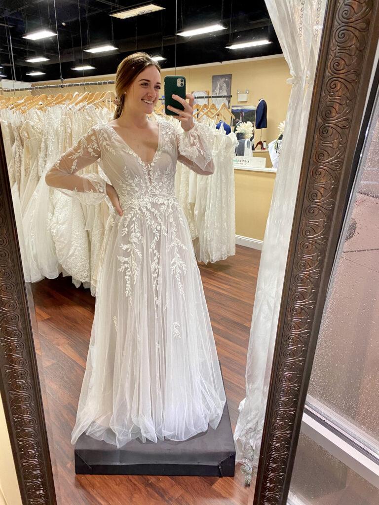 Bride in long sleeve wedding dress, Bea by Madi Lane, Vine lace, sheer long sleeves, BoHo wedding dress, micro wedding dress, minimony dress