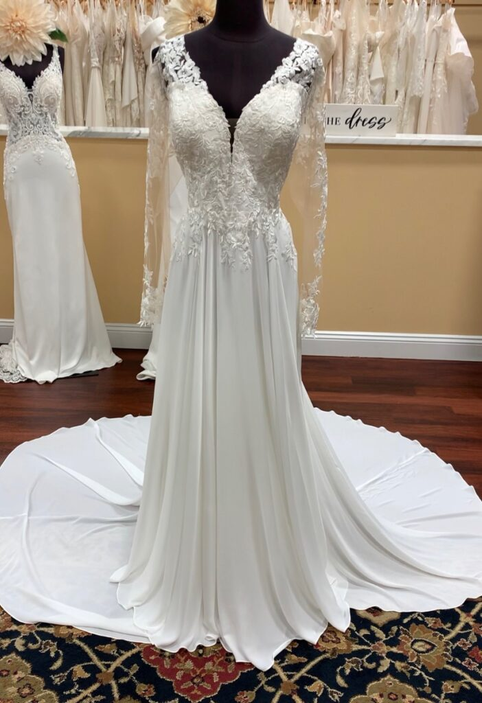 Long sleeve wedding dress with full lace bodice, long sleeve with lace appliqué, and ivory chiffon skirt with a chapel length train. Micro wedding dress, beautiful outdoor wedding dress, clean, lightweight wedding dress, minimony dress
