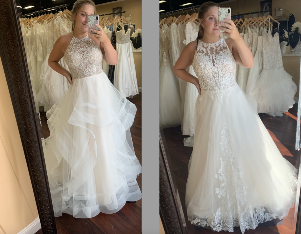 Casablanca's Andi wedding dress with a beaded halter top and a tiered skirt on the left, and Morilee's Analeise on the right with a halter lace bodice and lace appliqué on the tulle skirt