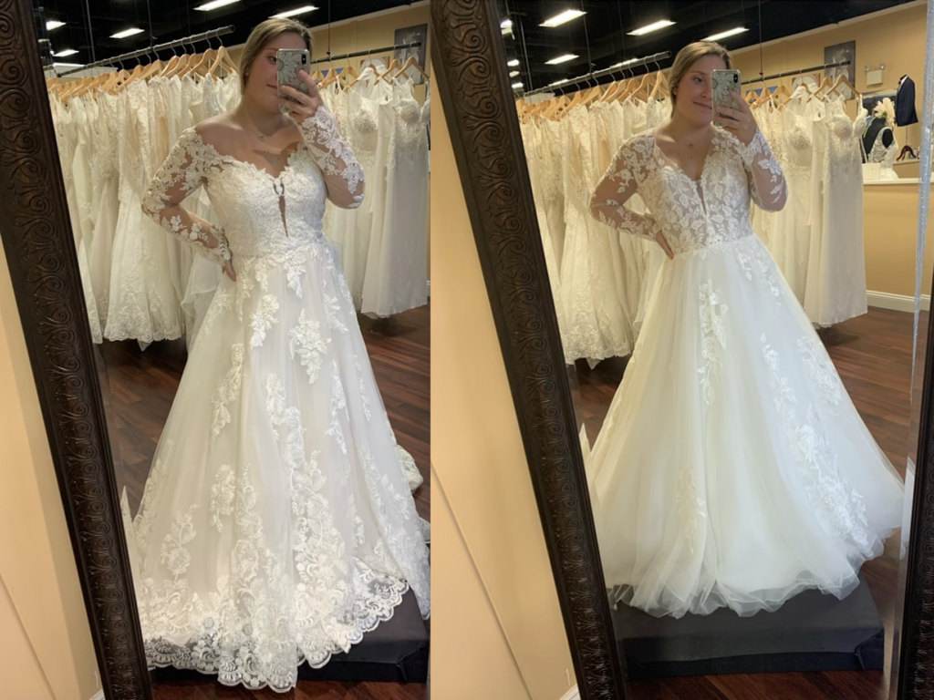 The Ambrosia dress by Morilee has long sleeves and is a bit off the shoulder with a ball gown silhouette, with a very similar dress called Analeigh by Kitty Chen with more coverage on the shoulder and less lace on the skirt