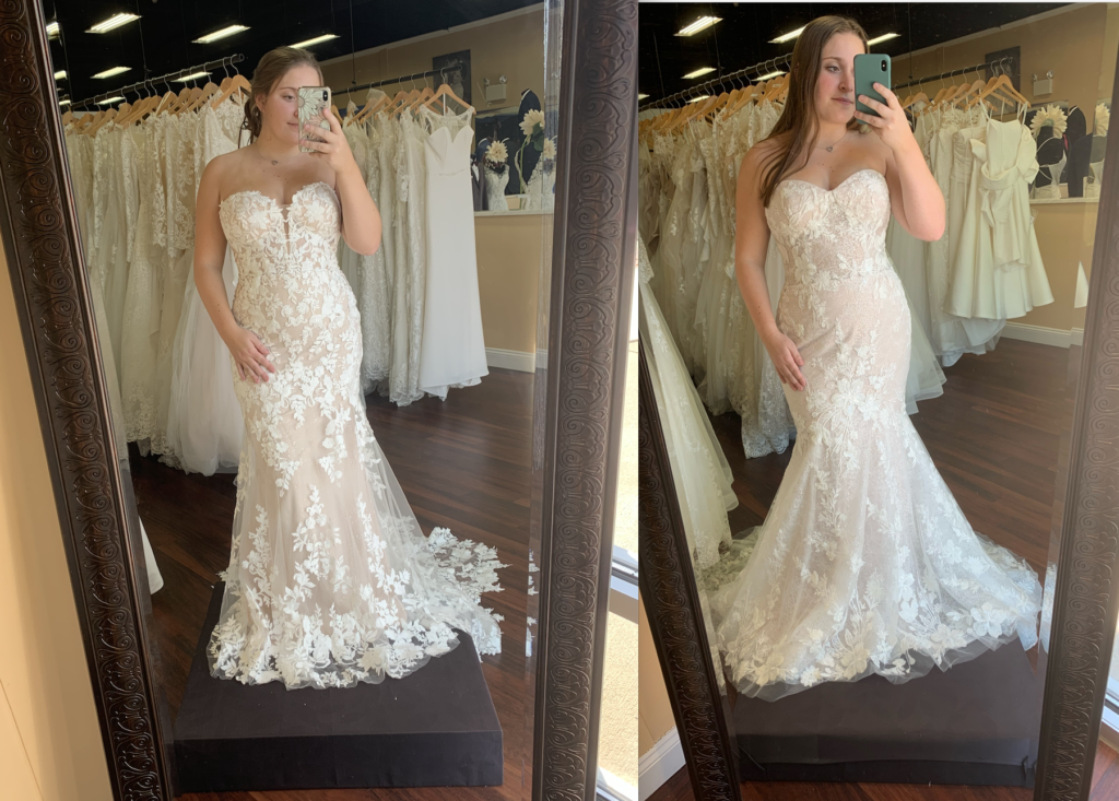 Great dresses for a curvy body! The Enzoani Nesta wedding dress has all over lace with a strapless neckline and a plunge neck, while Casablanca's Angelina has a strapless sweetheart with no plunge and a bit more flare in the skirt