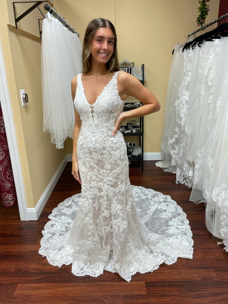 Alessandra by Eddy K is a V-neck fit and flare wedding dress with intricate lace and a lovely sparkle