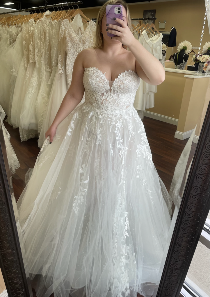 Natsuko by Enzoani Blue is a wedding dress favorite with its sweetheart neckline, lightweight tulle skirt with slit and optional off the shoulder straps