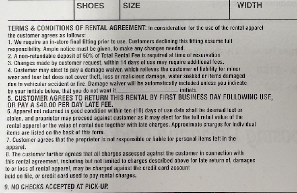 Terms of the tuxedo rental agreement are clearly printed